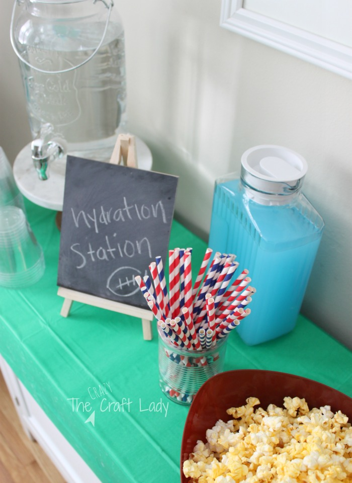 football popcorn party and hydration station