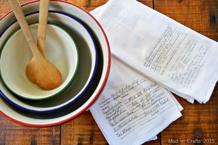 handwritten recipe kitchen towels