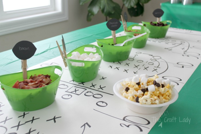 popcorn snack mix bar and football party