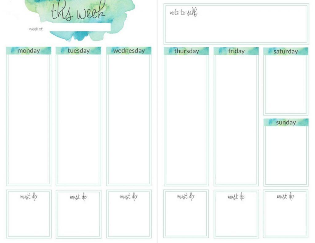 teal weekly watercolor planner