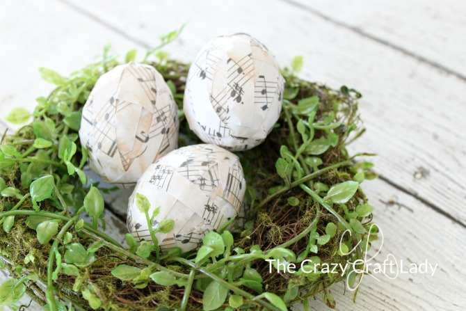 Use music paper and decoupage to DIY these adorable music note Easter eggs. Follow this tutorial to make a unique Easter egg craft this spring.