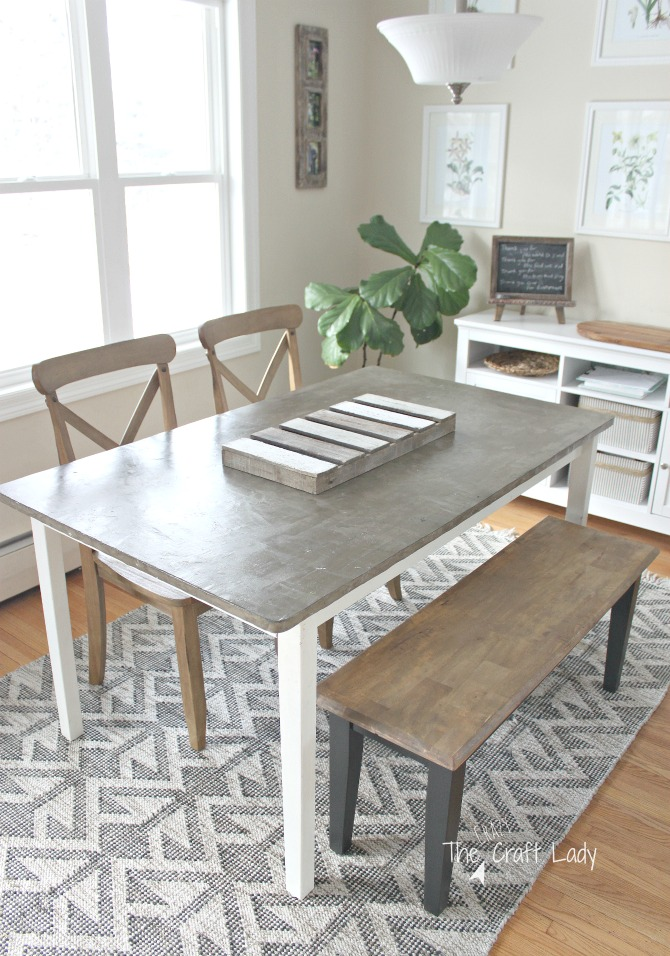 Casual Farmhouse Dining Room And DIY Concrete Table Top