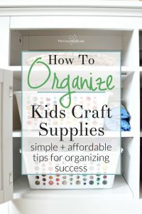 Come see how one mom was able to simply and inexpensively organize kids craft supplies in her home. Follow these tips for organizing success.