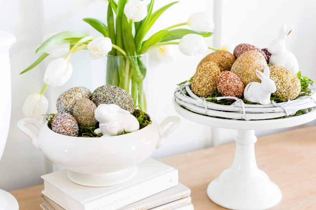 Beautiful Easter Eggs you Need to Try this Spring - Pottery Barn Inspired Glitter Easter Eggs