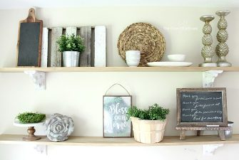 Easy and Inexpensive Farmhouse Kitchen Shelves – No Saws Required!