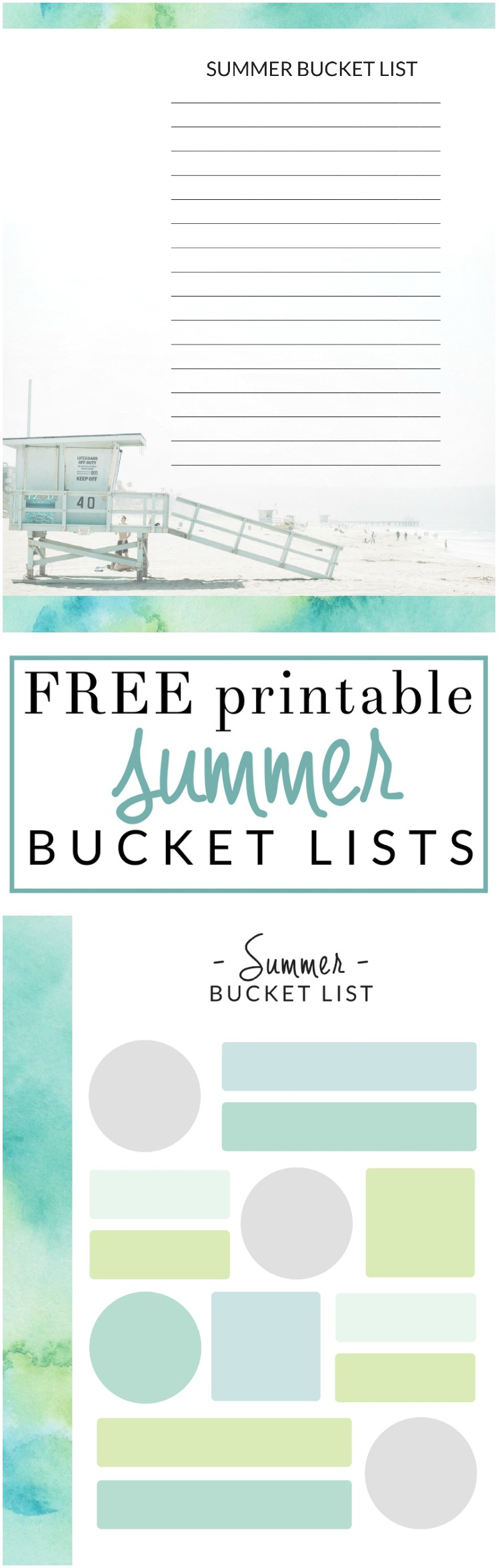 Summer To Do List - FREE Bucket List Printables - The Crazy Craft Lady