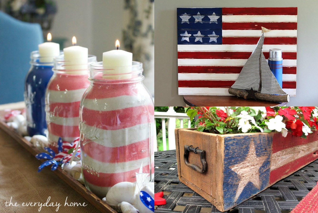 You're going to love these farmhouse style American flag crafts. They're perfect for summer home decor all season long. Get inspired with these patriotic farmhouse decor and DIY ideas.
