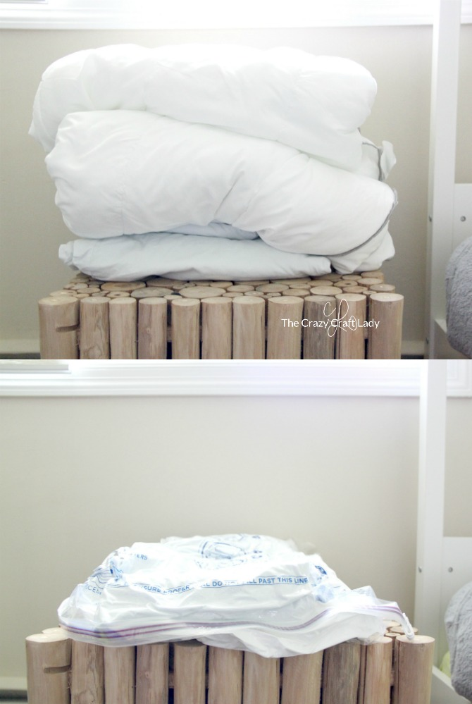 Using Space Bags to Store Winter Bedding