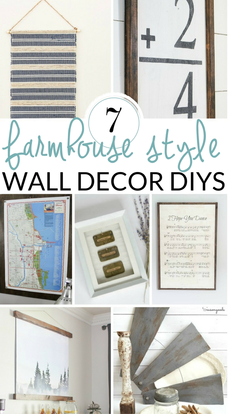 Fill your empty walls with these DIY farmhouse wall decor ideas. Try a DIY wall art piece, create a farmhouse gallery wall, or style farmhouse shelves.