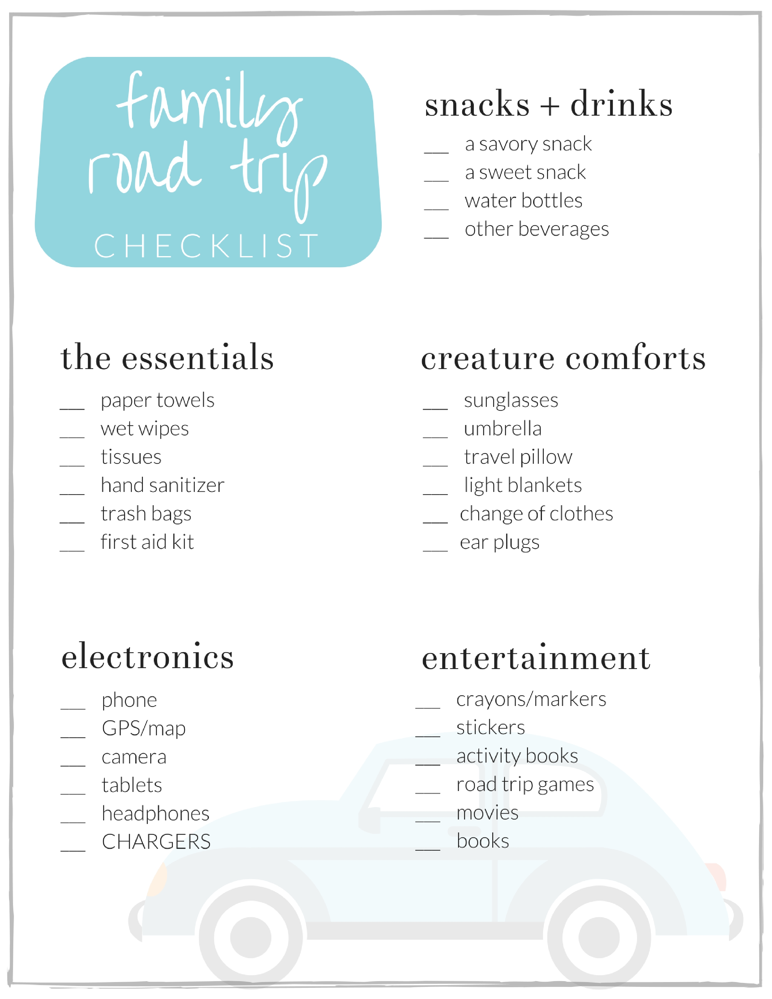 Family Road Trip Checklist A Free Printable The Crazy