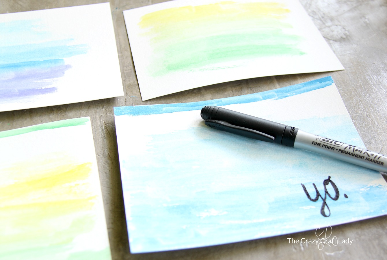"Make your own watercolor cards with quotes - perfect for making custom holiday or birthday cards, or just to send a note ""because."""