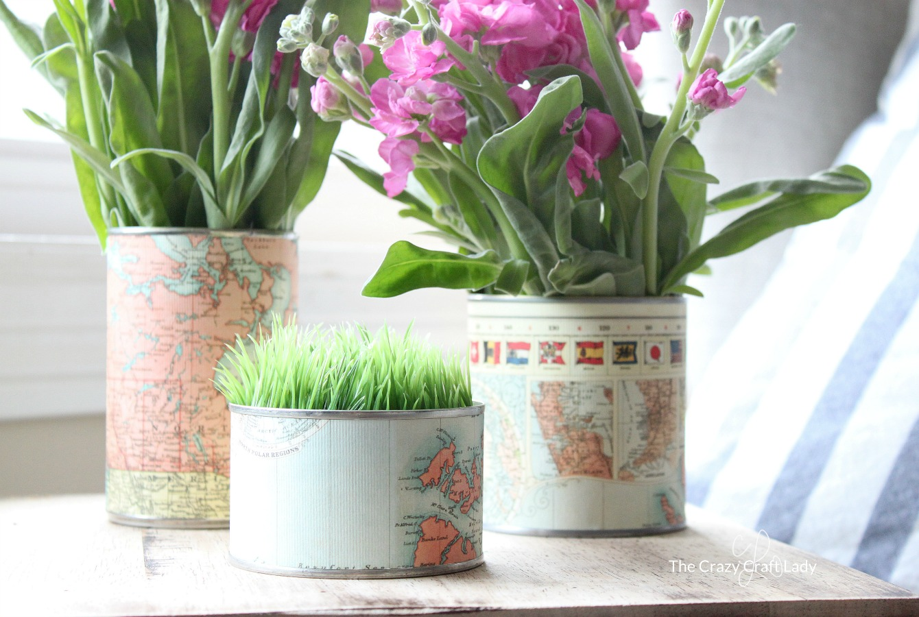 Tin Can Vases: Upcycling with Map Paper
