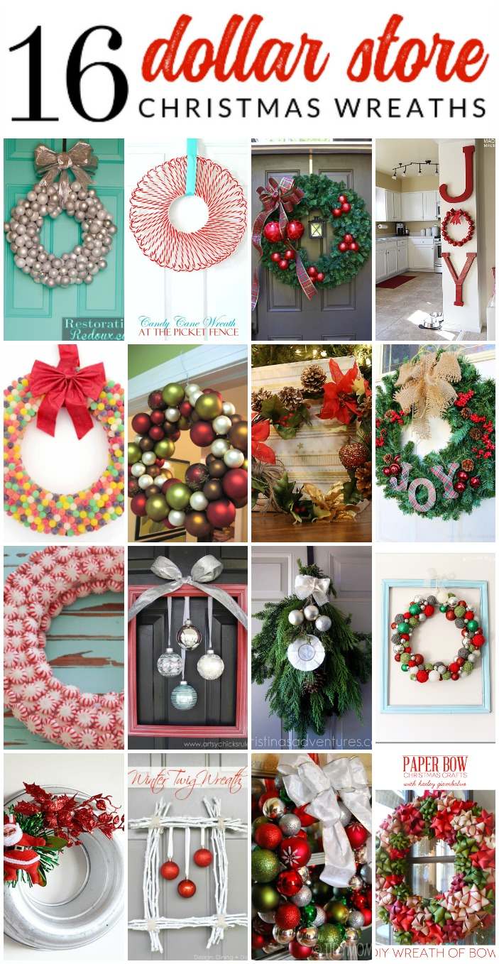 Gorgeous Dollar Store Christmas Wreaths - These gorgeous DIY wreaths were all made from supplies that you can find at your local dollar store! Genius and beautiful dollar store Christmas decor ideas.