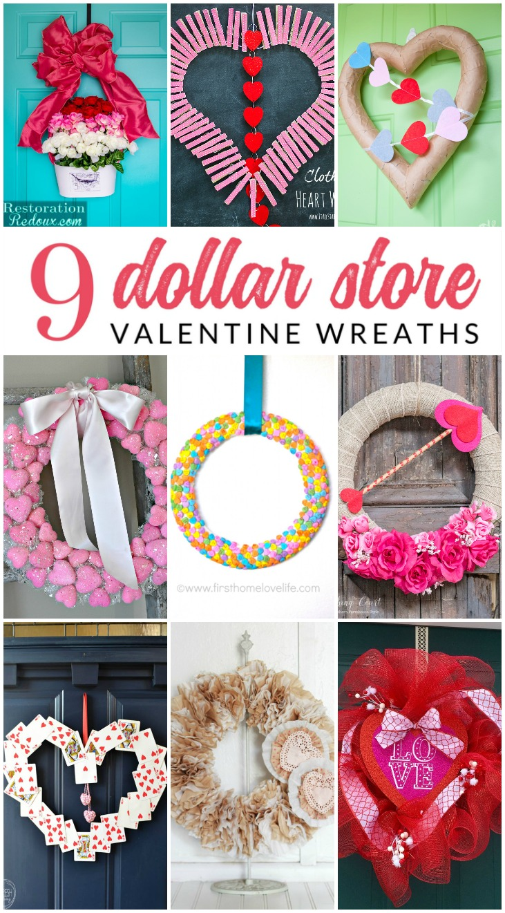 You May Not Believe It But These Valentine Wreath Ideas All Use Supplies From The Dollar Grab Some Ribbon Flowers Felt Yarn Or Tulle And Make
