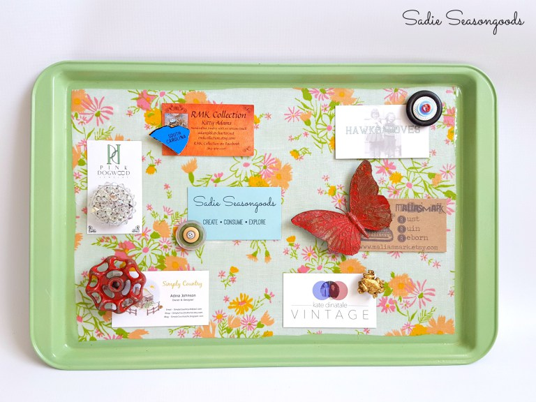 These decorative magnetic boards are GENIUS ideas! Using a few simple craft supplies, you can transform a Dollar Store cookie sheet into a magnetic organizer or command center. Check out these cute and functional DIY magnetic boards.