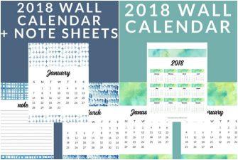 FREE Printable 2018 Calendars – Watercolor and Shibori Options