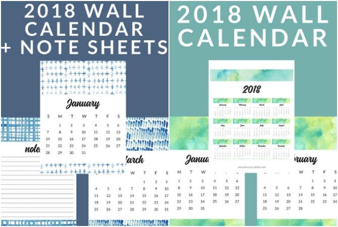 FREE Printable 2018 Calendars - Watercolor and Shibori