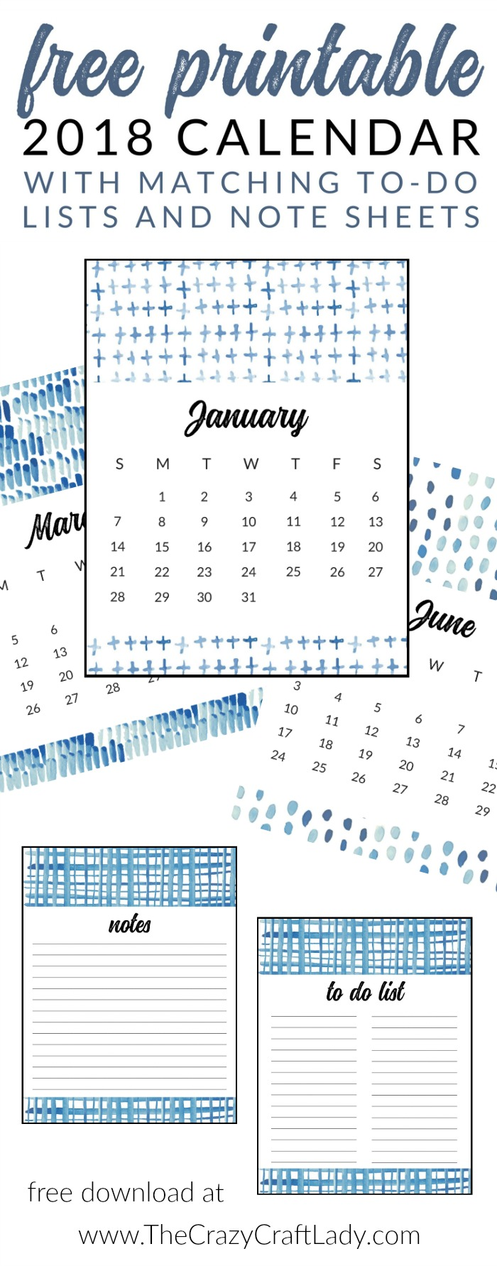FREE Printable 2018 Calendars - Watercolor and Shibori ...