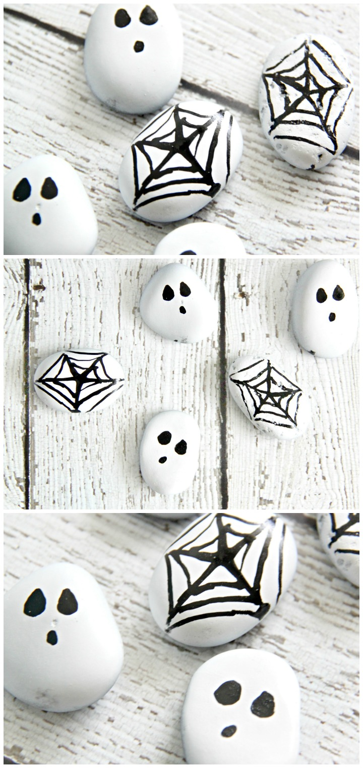 Halloween painted rocks are a super easy Halloween project that crafters of all ages can enjoy. Give rock painting a try with this fun Halloween spider web and ghost craft.