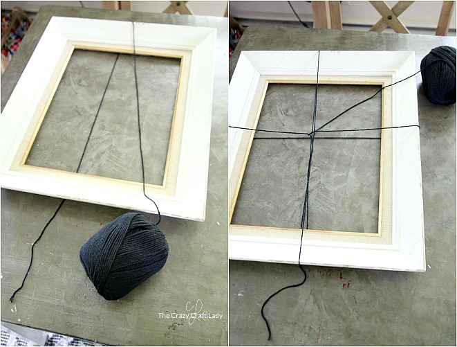 Grab a thrift store frame and make this easy Halloween decoration - a Spider Web Picture Frame. Using just black yarn, you can give any frame a spooky touch for a simple neutral Halloween decor craft.