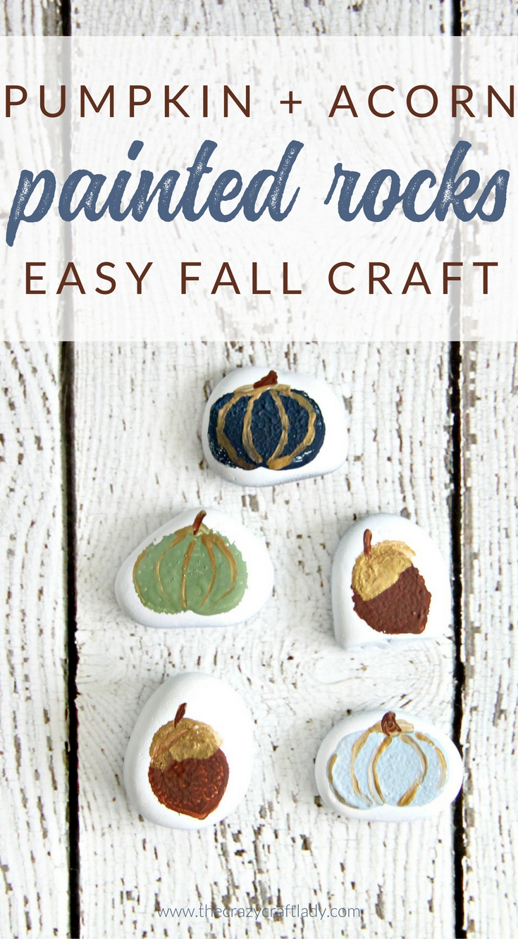 Pumpkin painted rocks are a quick little fall craft project that painters of all skill levels can enjoy. Give rock painting a try with this fun fall pumpkin and acorn craft.