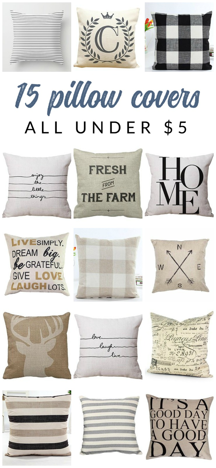 Gorgeous And Inexpensive Neutral Farmhouse Pillow Covers