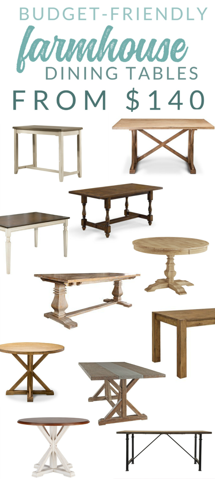 Budget-Friendly Farmhouse Table Options – 14 Tables Starting at $140