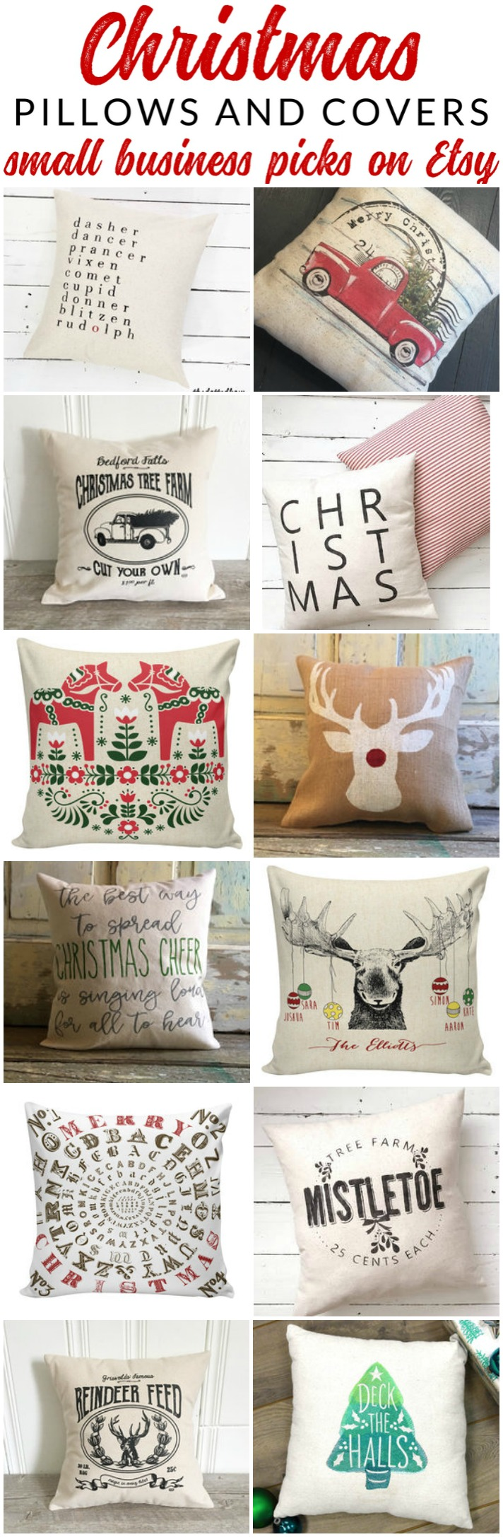 Farmhouse Style Christmas Pillows on Etsy - The Crazy Craft Lady