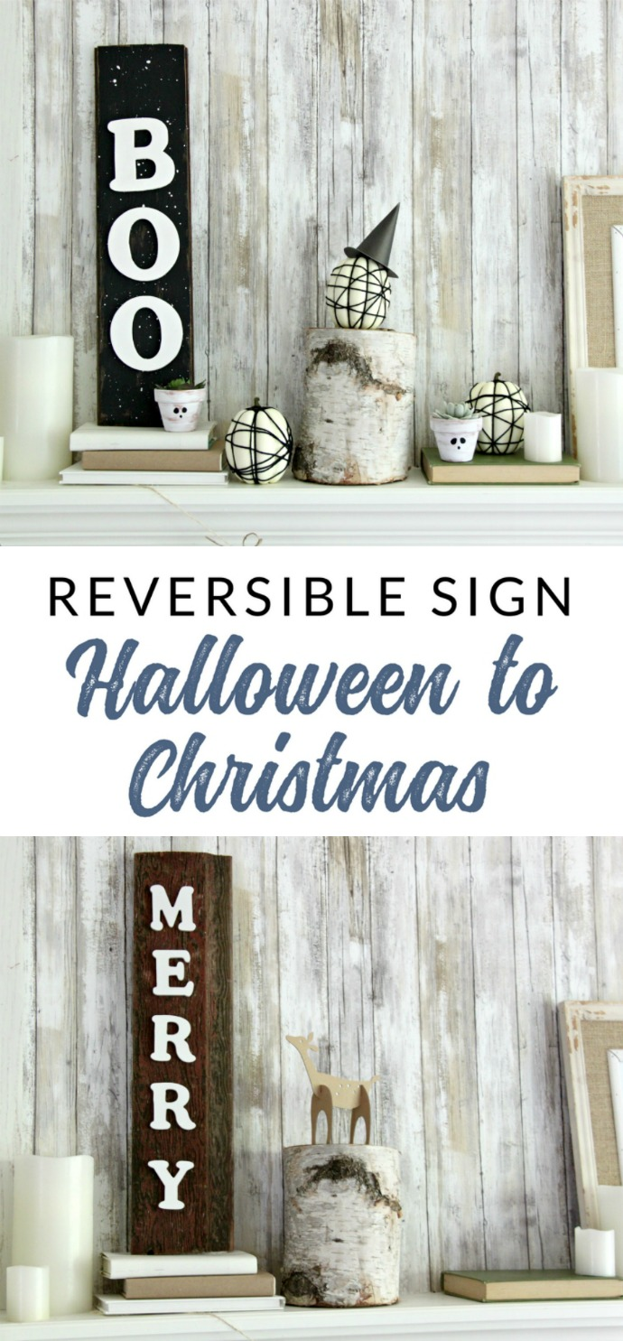 This reversible reclaimed wood sign will last from Halloween through Christmas. Using wood letters, this decorative holiday sign is an easy DIY project to add to your seasonal decor.