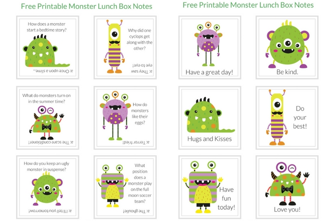 Print off these monster lunch box notes and wow your student with a fun lunchtime note. FREE Printable Monster Lunch Box Notes.