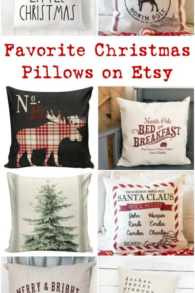 Farmhouse Style Christmas Pillows on Etsy