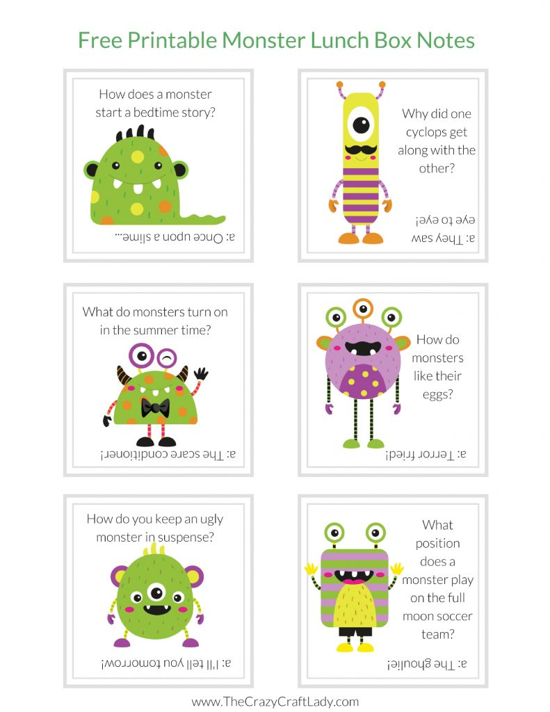 Monster Jokes -Lunch Box Notes - Print off these monster lunch box notes and wow your student with a fun lunchtime note.  FREE Printable Monster Lunch Box Notes.
