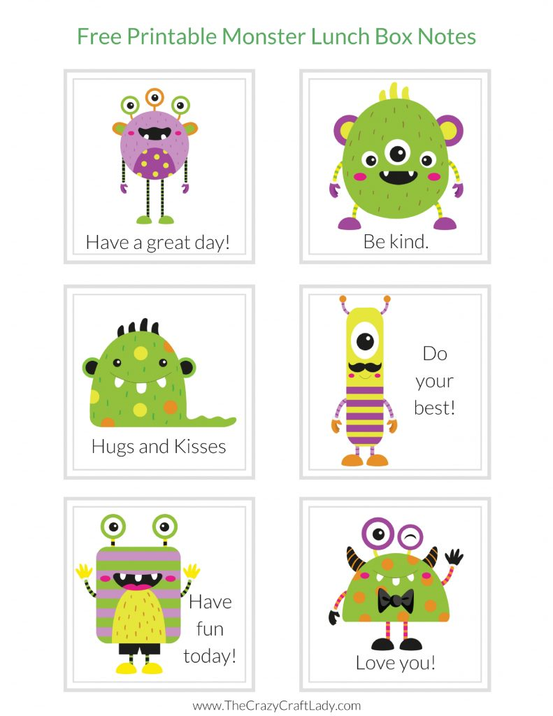 Monster Lunch Box Notes for early readers - Print off these monster lunch box notes and wow your student with a fun lunchtime note.  FREE Printable Monster Lunch Box Notes.