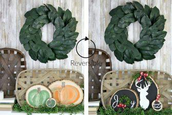 Two Seasonal Wood Round Crafts – Reversible Holiday Decor