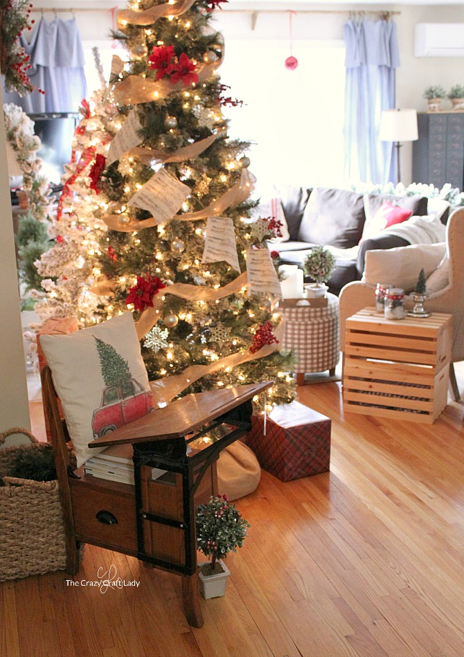 Come tour this cozy family room with tips for simple, budget-friendly classic Christmas