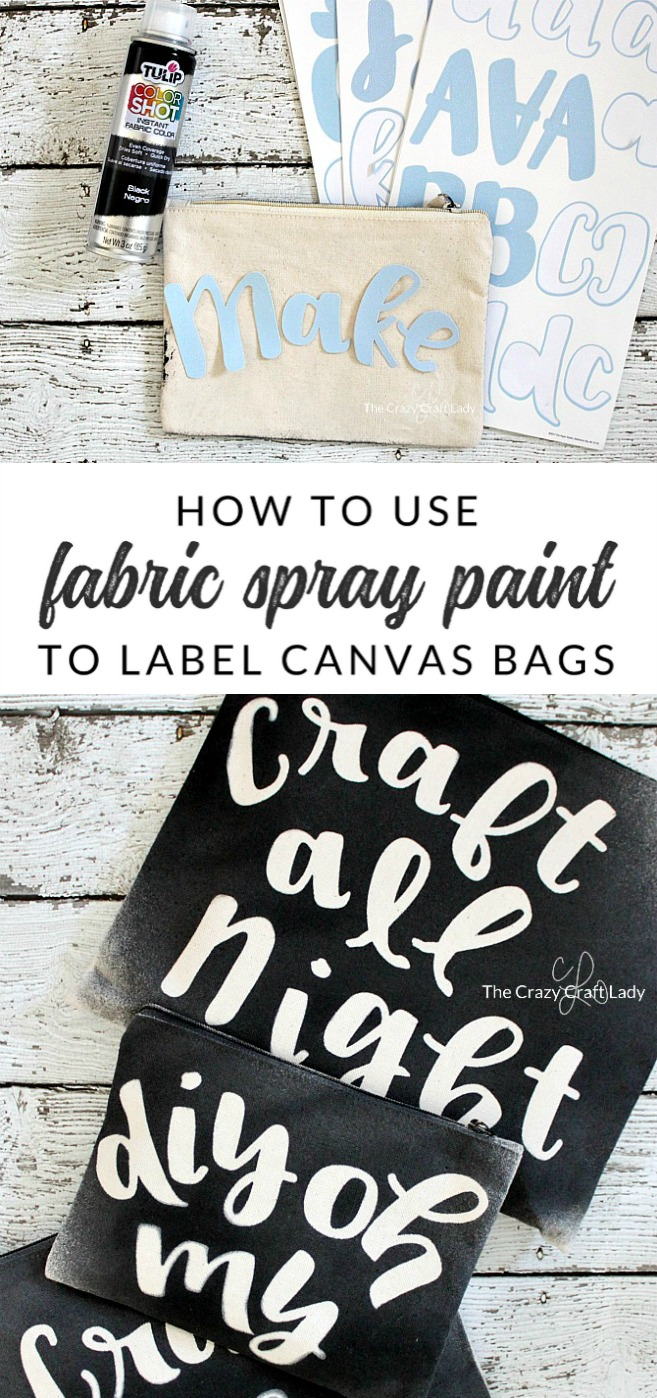 Fabric Spray Paint Canvas Bags - Use fabric paint to make a DIY craft tote bag. Take your craft supplies on the go with a handy canvas tote and custom canvas pencil bags.