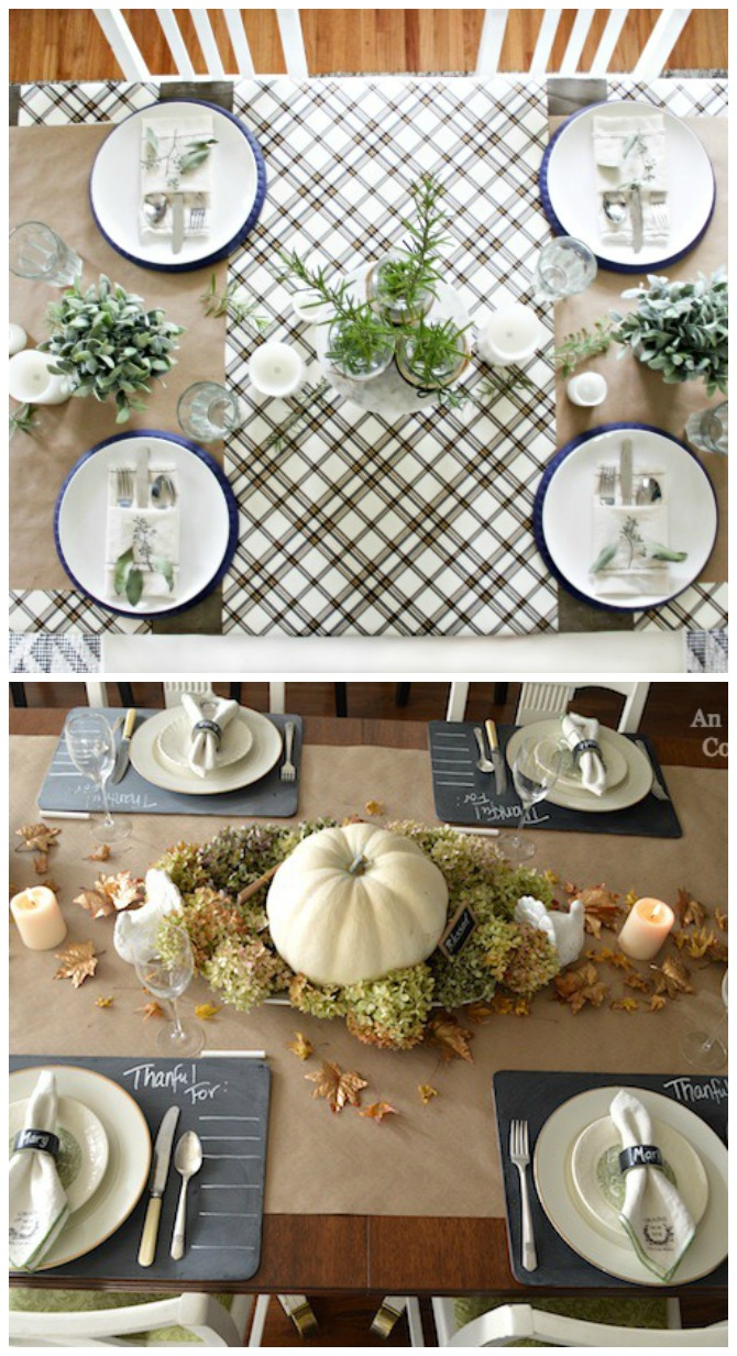 How to make a Thanksgiving tablecloth with paper. Easy DIY Thanksgiving decor for your table.