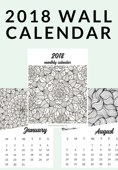 Download and print this FREE adult coloring calendar with 12 coloring book style coloring pages.