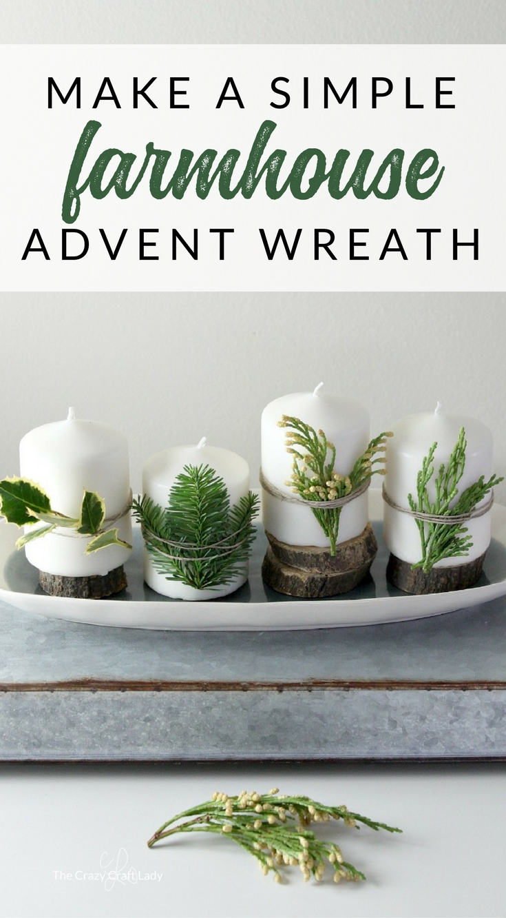 Come see how to make this simple DIY farmhouse Advent wreath with a few supplies and natural elements. Use a platter to make a non-traditional Advent wreath with white candles.