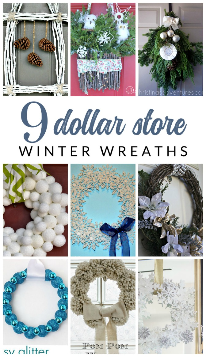 DIY Dollar Store Winter Wreaths – You won't believe that these simple and easy to make winter wreaths all started with dollar store supplies!