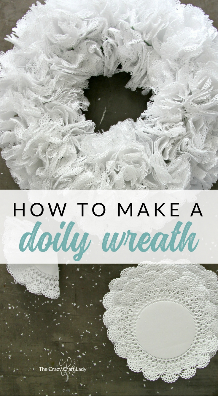 How to make a doily wreath. Follow this craft tutorial and make this simple paper craft from doilies. Use doilies and a dollar store wreath form to make a transitional wreath for all seasons.