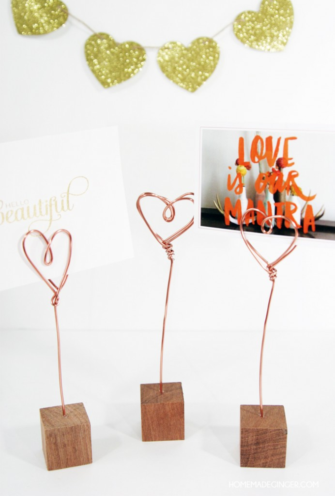 Copper Wire Photo Holders - Make it a handmade and heartfelt Valentine's Day with these 9 grandparent Valentines gift ideas. Give a handmade keepsake gift to grandma and grandpa that's filled with love.