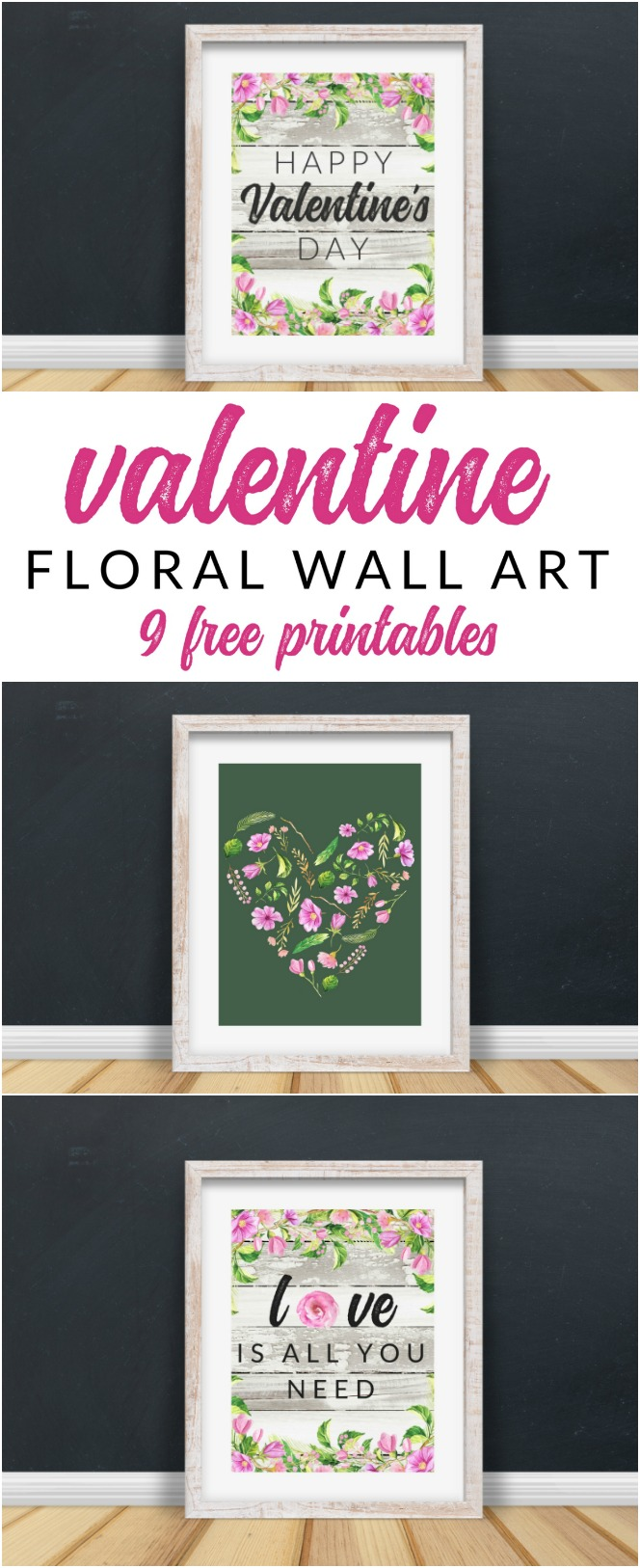 This FREE Floral Valentine Printable Pack is perfect for your holiday decor and gallery walls. 9 free farmhouse style Valentine printables.