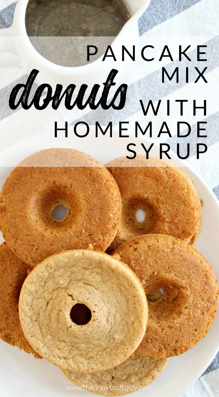 Pancake batter donuts with homemade brown sugar syrup the crazy start the morning off right with a fun play on this breakfast treat and make pancake ccuart Image collections