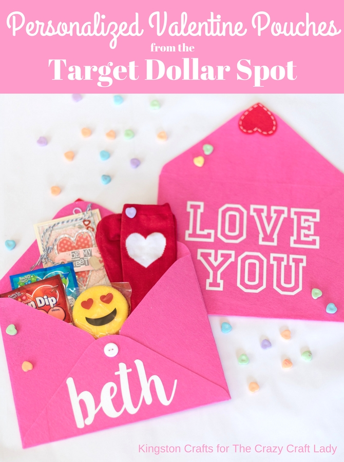 With a quick trip to the Target Dollar Spot and your die cutting machine or purchased iron-on you can create personalized Valentine pouches in just a few minutes!
