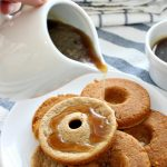 Start the morning off right with a fun play on this breakfast treat and make pancake batter donuts, served with homemade brown sugar syrup. Simple whole wheat pancake recipe. Easy donut recipe.