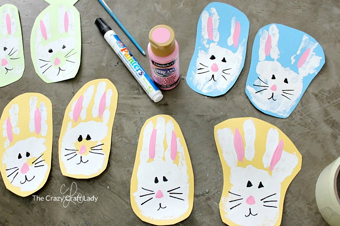 How to paint faces on handprints to make them look like bunnies
