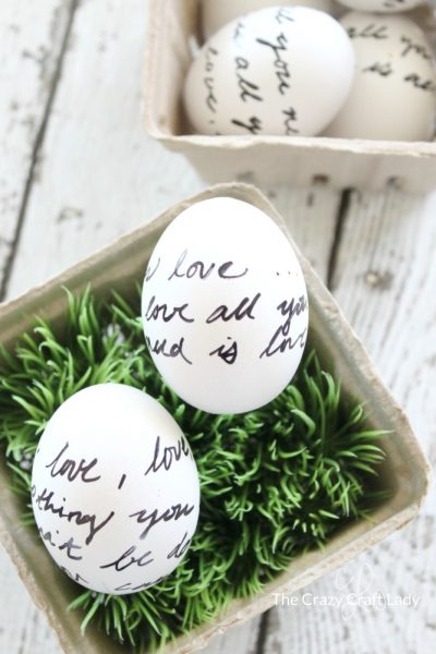 Writing on Easter Eggs: Sharpie and Letter Script Decorated Eggs