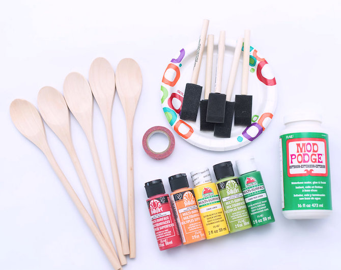 supplies for wooden spoon plant markers