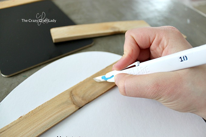 How to easily cut wood shims with a crafting knife - Scoring the wood shim
